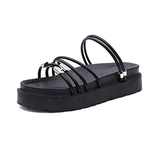 ad73b66d3faad Sandales Plateforme Mules Femmes Été Claquettes Sangles Casual Chaussures  Plage Slip-on Tongs Noir 35