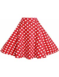 Women Vintage Skirt Smock Waist Rockabilly Swing Casual Party Skirts