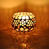 Lalhaveli Indian Designer Glass Candle Holder Home Decor 3 Inches