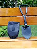 Jipemtra Garden Shovel Portable Folding Car Emergency Survival Entrenching Tool Carrying Pouch Camping Hiking Backpacking Fishing (L)