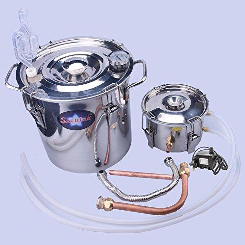 Best of Seeutek 3Gal 12L Sealed Water Alcohol Wine Distiller Copper Moonshine Still Kit Stainless Boiler with Pump