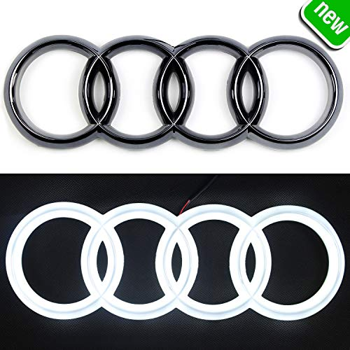 JetStyle [2018 Upgraded] LED Emblem, Compatible with Audi, Front Car Grill Badge, Auto Illuminated Logo, Glowing Rings, Lights DRL Daytime Running Lights White - Drive Brighter(285 mm Black)