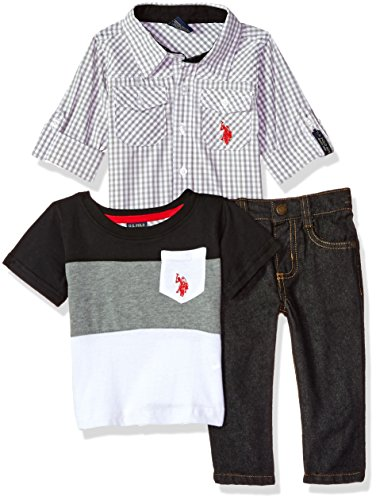 u.s. polo assn. Bebé Niños Camisa de manga larga conjunto de pantalón, playera y,  Light Grey Woven Color Block El Multi Plaid, 18m
