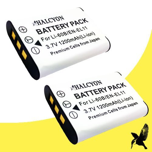 D-li78 Lithium Ion Battery - Two Halcyon 1200 mAH Lithium Ion Replacement Batteries for Pentax D-LI78 and Pentax Optio W60, M50, V20 Digital Cameras