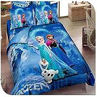 frozen elsa anna Twin/Single Size, Cotton, Character Pattern, Blue - Bedding Sets