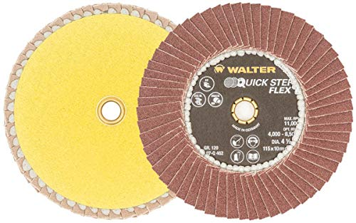 - Walter 07Q462 Quick-Step Metal Surface Finishing Flap Disc [Pack of 10] - 4-1/2 in. Abrasive Disc, 120 Grit, Vibration Free Flap Disc. Finishing Supplies