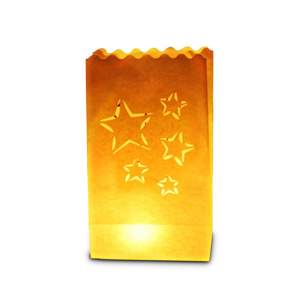 Candle Bags UK Candle Luminary Bags (Pack of 10) - Star Cutout Design C031 BBQ Wedding Birthday