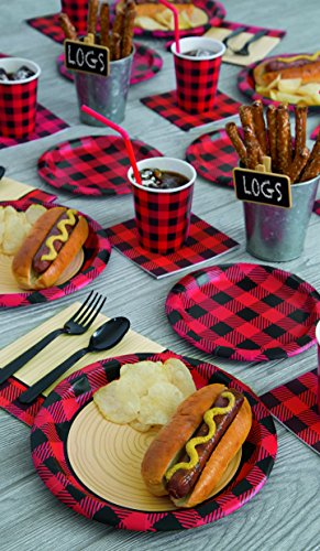 Unique Plaid Lumberjack Party Bundle | Luncheon & Beverage Napkins, Dinner Plates, Table Cover, Cups | Great for Country/Rustic Birthday Themed Parties by Unique (Image #1)