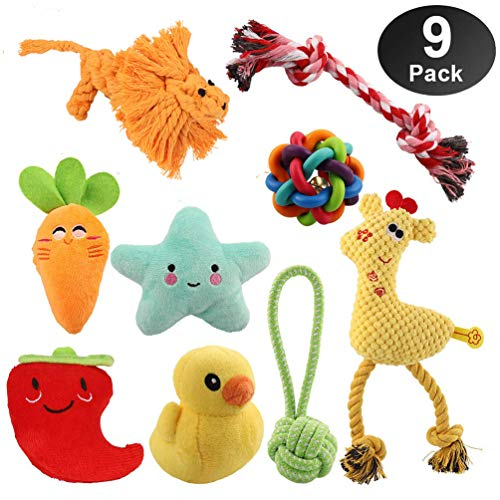 Dog Toys for Small Dogs & Puppies - 100% Natural Cotton Rope Teething Toys - Squeak Toys - Dog Balls - Plush Dog Toy - Tug of War Ball - Toys for Small Pet Dogs 9 Pack Gift Set … (Small Dog 9pcs)