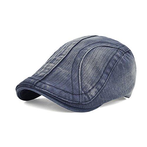 VOBOOM Men's Classic Cotton Flat Distressed Newsboy Cap Beret Hat BQ037 (Deep Blue) (Blu Classic Cap)