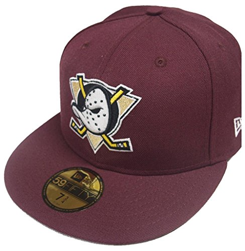 New Era 59Fifty Anaheim Mighty Ducks Fitted Hat (Maroon) Men's NHL Hockey (Nhl New Era Caps)
