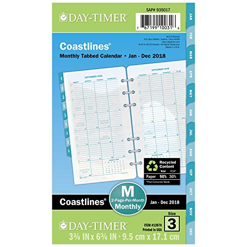 "Day-Timer Refill 2018, Two Page Per Month, January 2018 - December 2018, 3-3/4"" x 6-3/4"", Loose Leaf, Portable Size, Coastlines (13970-1801)"