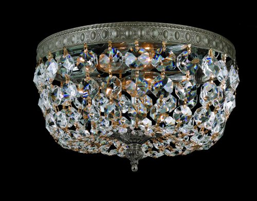 Crystorama Round Chandelier - Crystorama 710-EB-CL-MWP, Richmond Round Crystal Flush Mount Lighting, 2 Light, 120 Watts, Bronze