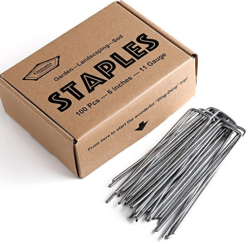 Garden Stakes 6 Inch 11G Anti Rust Heavy Duty U Shaped Weed Barrier Fabric Christmas Lawn Decorations Landscape Staples 100Pcs (Fabrics Summer Hill)