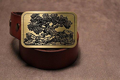 Bonsai Tree Etched Metal Belt Buckle