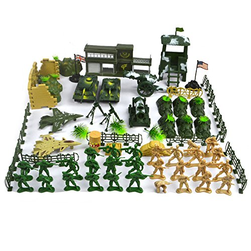 (MARBOL 90 PCS WWII Military Model Exercises Action Figure Toy Set Plastic Army Radar Tank Barrier Soldier War Weapon Educational)
