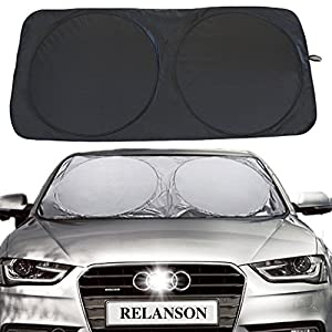 "Relanson Jumbo Sun Shade for Car windshield Keeps Vehicle Cool-UV Ray Protector Sunshade(Black, Standard/59"" x 31.5"")"