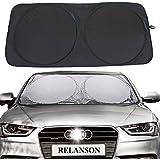 "Relanson Jumbo Sun Shade for Car windshield Keeps Vehicle Cool-UV Ray Protector Sunshade(Black, Standard/59"" x 31.5"")"