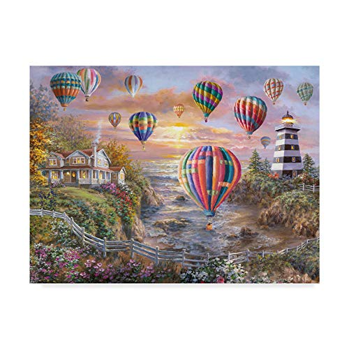 Trademark Fine Art Balloons Over Cottage Cove by Nicky Boehme, 24x32-Inch, ()