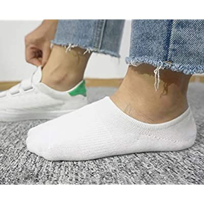 No Show Socks Women Non Slip Low Cut Cotton Liner Sports Casual Socks 6 Pairs White at Women's Clothing store