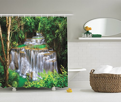 Ambesonne Waterfall Decor Collection, Stunning View of Waterfall in Kanjanaburi Stream Crossing Forest Image, Polyester Fabric Bathroom Shower Curtain Set with Hooks, Green Brown (Plastic Waterfall)