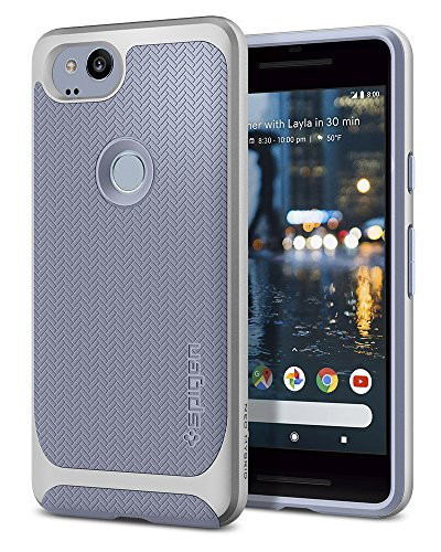 Spigen Neo Hybrid Herringbone Google Pixel 2 Case with Flexible Inner Protection and Reinforced Hard Bumper Frame for Google Pixel 2 (2017) - Kinda Blue - Blue Hybrid Case