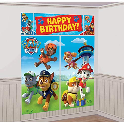Party Birthday Scene - American Greetings Nickelodeon, Paw Patrol Scene Setter Wall Decorations, 5-Count