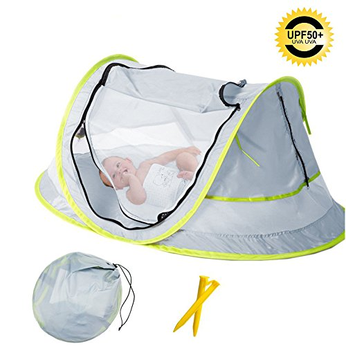 Baby Beach Tent, Portable Baby Travel Bed UPF 50+ Sun Shelters for Infant , Pop Up Mosquito Net with 2 Pegs Sunshade Ultralight - Beach Baby Beach
