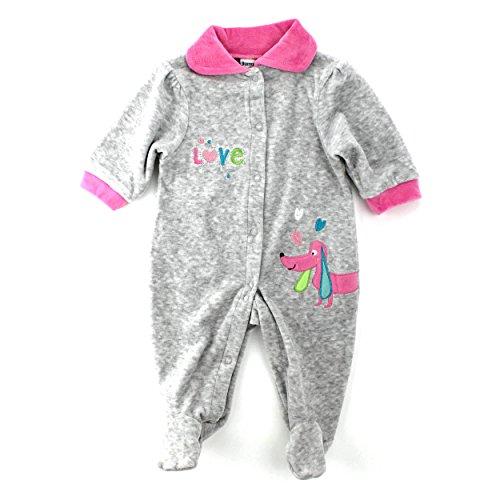 rls Velour Sleep N Play Sleeper Coverall (0/3M, Grey/Pink Puppy Dog) (Royalty Pajamas)