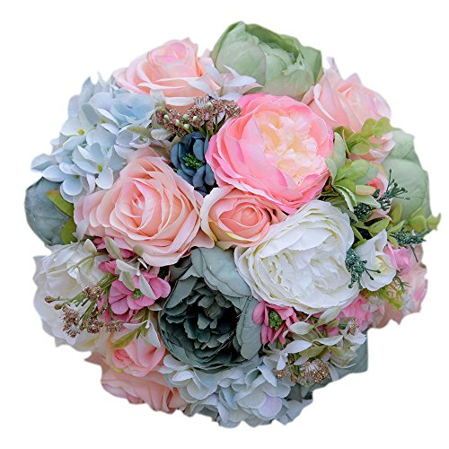 Zebratown 10'' Silk Flower Wild Flowers Bouquets for Wedding Peony Rose Bridal Bouquet Wedding Centerpieces Home Decoration (Gold) (Bouquet Rose Peony)