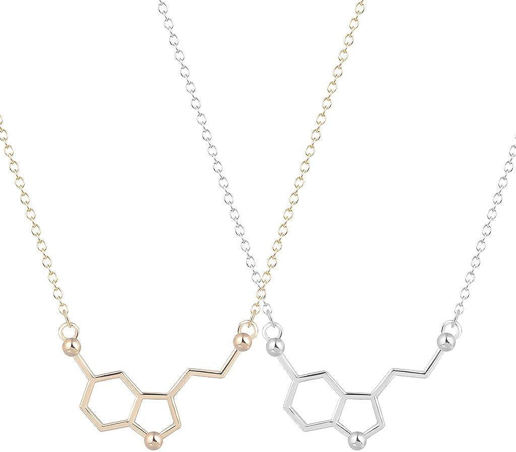 Collar de la molécula química de la serotonina, con colgante único, joyas minimalistas, 2 unidades, regalo para niñas y señoras