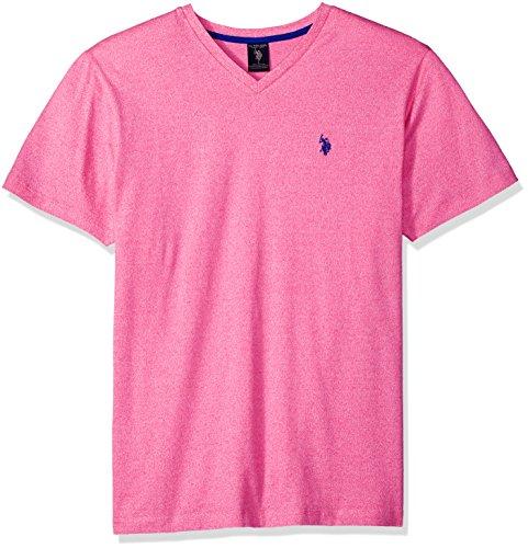 (U.S. Polo Assn. Men's Short Sleeve V-Neck Solid T-Shirt, Pink Raton FDKD, M)