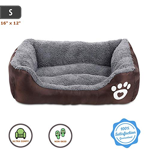 Pet Deluxe Dog Bed, Super Soft Pet Sofa Cats Bed, Non Slip Bottom Pet Lounger,Self Warming and Breathable Pet Bed…