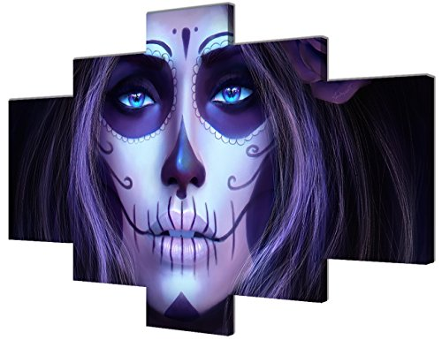 Day of the Dead Face Large Canvas All Saints Day Halloween Wall Art Animated Painting 5 PCS Modern Posters and Prints Pictures for Living Room,Home Decor Framed Stretched Ready to (Halloween 5 Poster)