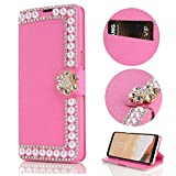 Stysen Galaxy S9 Wallet Case,Galaxy S9 Glitter Flip Case,Shiny Pearl Rose Red Bookstyle Strass Flower Buckle Wallet Case Cover for Samsung Galaxy S9-Flower,Rose Red