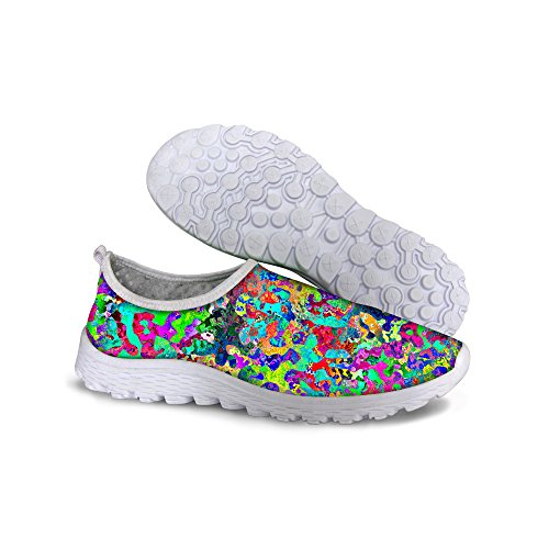 FOR U DESIGNS Colorful Graffiti Print Womens Lightweight Mesh Walk Running Shoes Multi 1 NH7Ei5X