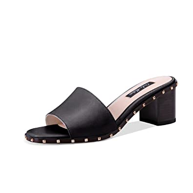 6ebb6fa252c onlymaker Women s Open Toe Chunky Block Heel Slippers Slide Sandals Rivets  Mules Shoes Casual Heeled for