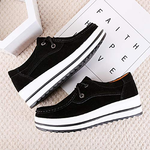 On Mocassins Compensées Noir Aonegold® Loafers Slip Casuel Suède Chaussures Confort Femmes Pdxrdqv8z
