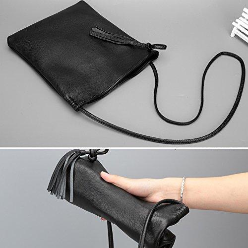 Mini Ladies Shoulder Soft Cross Womens body hand Leather Genuine Bags Bag Purse Chiekncall Messenger Bag Grey Womens CxUwng