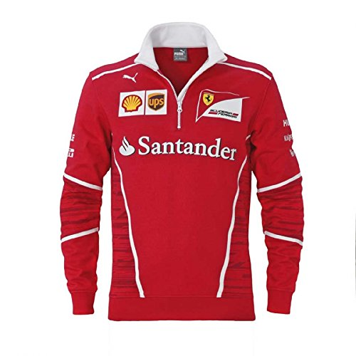 Ferrari Formula 1 Men's 2017 Red 1/2 Zip Team SweatShirt w/Sponsors - Men Jacket Ferrari