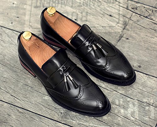HYLM Bullock tallado zapatos casuales Negocios zapatos de cuero de los hombres Verano transpirable zapatos de boda Black