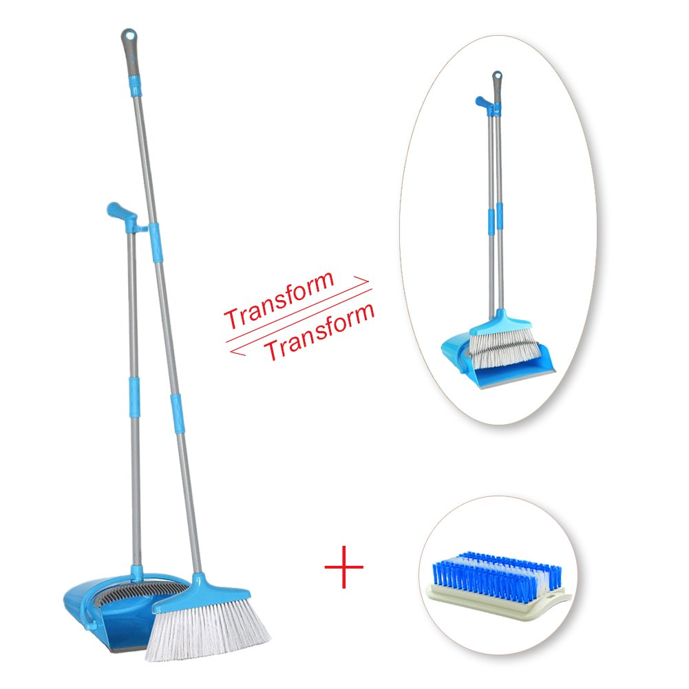 IKU Transmutable in Length Long Handle Broom and Dustpan Set - 3 Poles (48'') & 2 Poles (35.2'') - Indoor Upright Standing Collapsible Lobby Broom for Home Office Kitchen with Hand Scrub Brush(Blue) by IKU (Image #1)