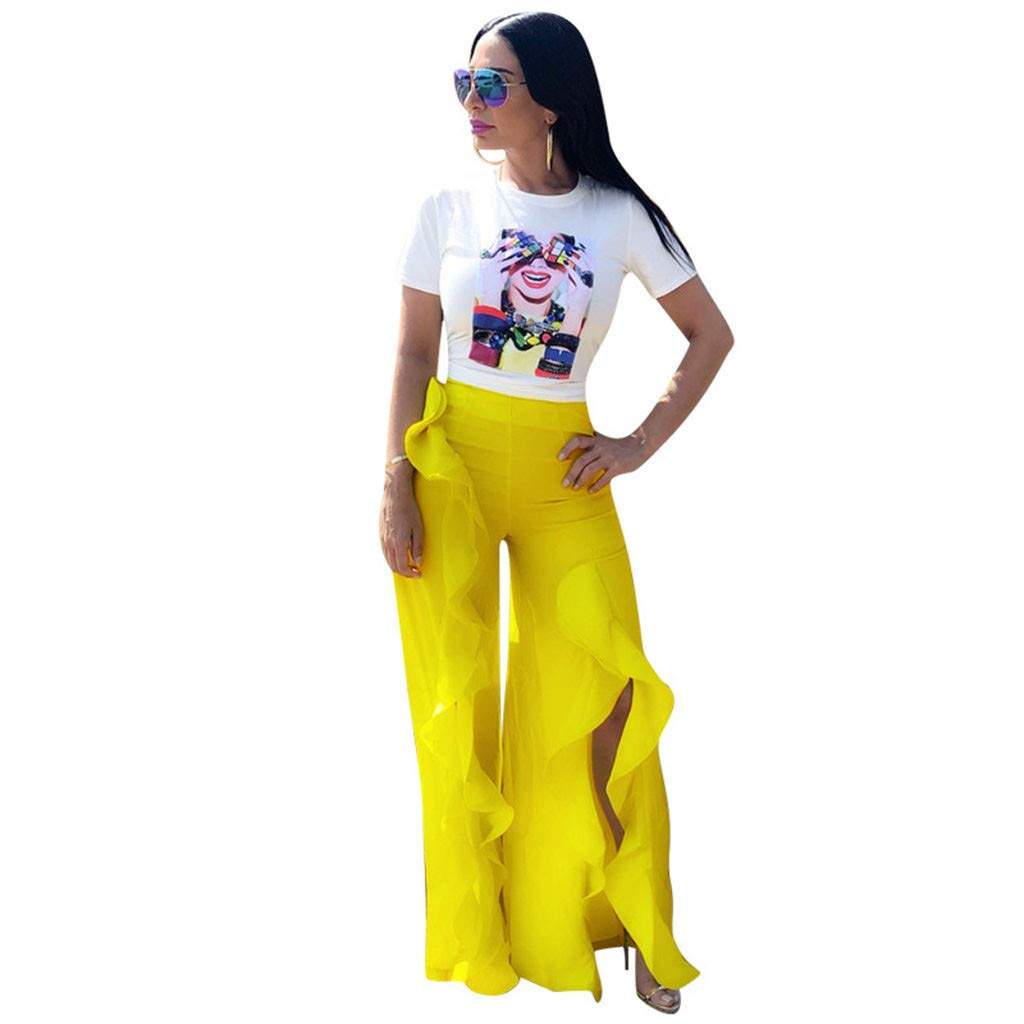 Women Bodycon 2 Piece Outfit Printing Crop Top and Ruffle Slit Pants Set Casual Two Piece Bodycon Pants Set