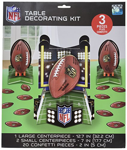 NFL Drive Birthday Party Assorted Table Decorating Kit, Green/Brown, Paper , Pack of 23 (Nfl Party Decorations)