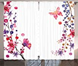 Ambesonne Bedroom Curtains Butterflies Decorations, Floral Art with Butterfly Magic of Believing Hope Exotic Healing Power, Living Room Bedroom 2 Panels Set, 108 X 84 Inches, Pink Purple White For Sale