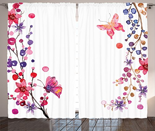 Bedroom Curtains Butterflies Decorations by Ambesonne, Floral Art with Butterfly Magic of Believing Hope Exotic Healing Power, Living Room Bedroom 2 Panels Set, 108 X 84 Inches, Pink Purple White