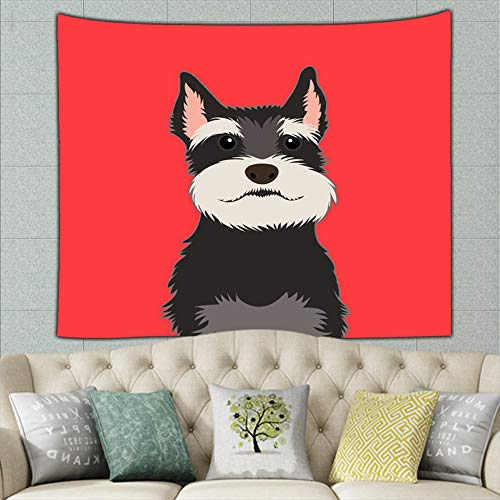 wrtgerht Schnauzer Buddy Dog Animals Wildlife Tapestry Wall Hanging, Wall Tapestry with Art Nature Home Decorations for Living Room Bedroom Dorm Decor 50ʺ × 60ʺ