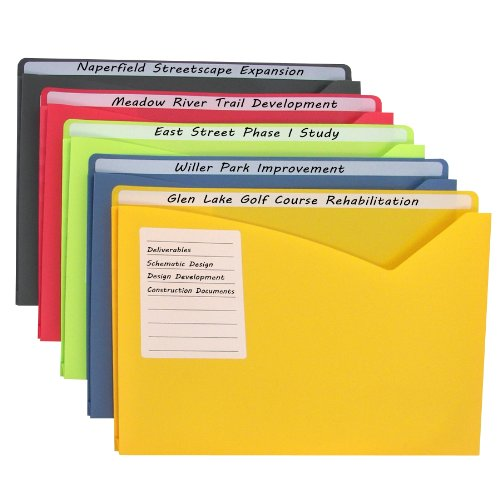 C-Line Write-On Polypropylene File Jackets, Assorted Colors, 8-1/2 x 11 Inches, 25 per Box (63060)