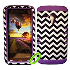 Cellphone Trendz High Impact Hybrid Rocker Case Cover for Motorola Moto G XT1032 – Purple Silicone with Hard Black And White Chevron Design