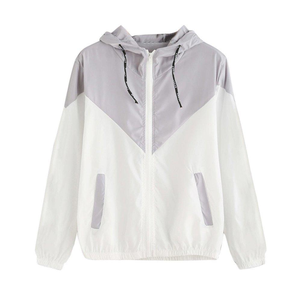 Tanhangguan Women's Color Block Drawstring Long Sleeve Hooded Zip Up Sports Jacket Windproof Windbreaker (Grayk/White, M)